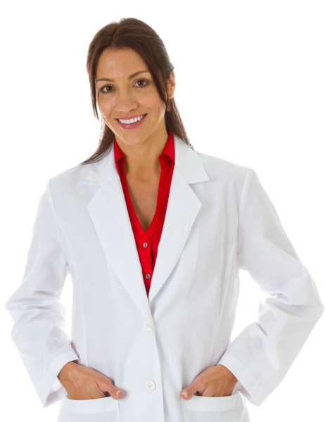 Equipment - Smiling-female-wearing-lab-coat-hands-in-pockets-cropped